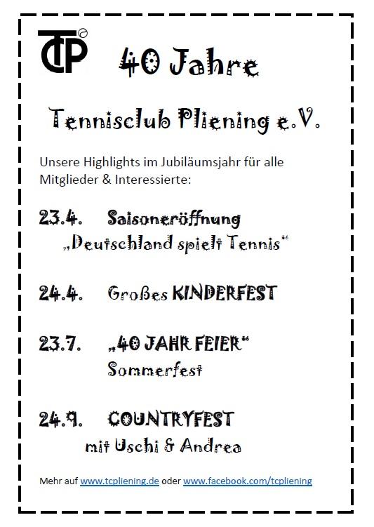 40 Jahre Tennisclub Pliening